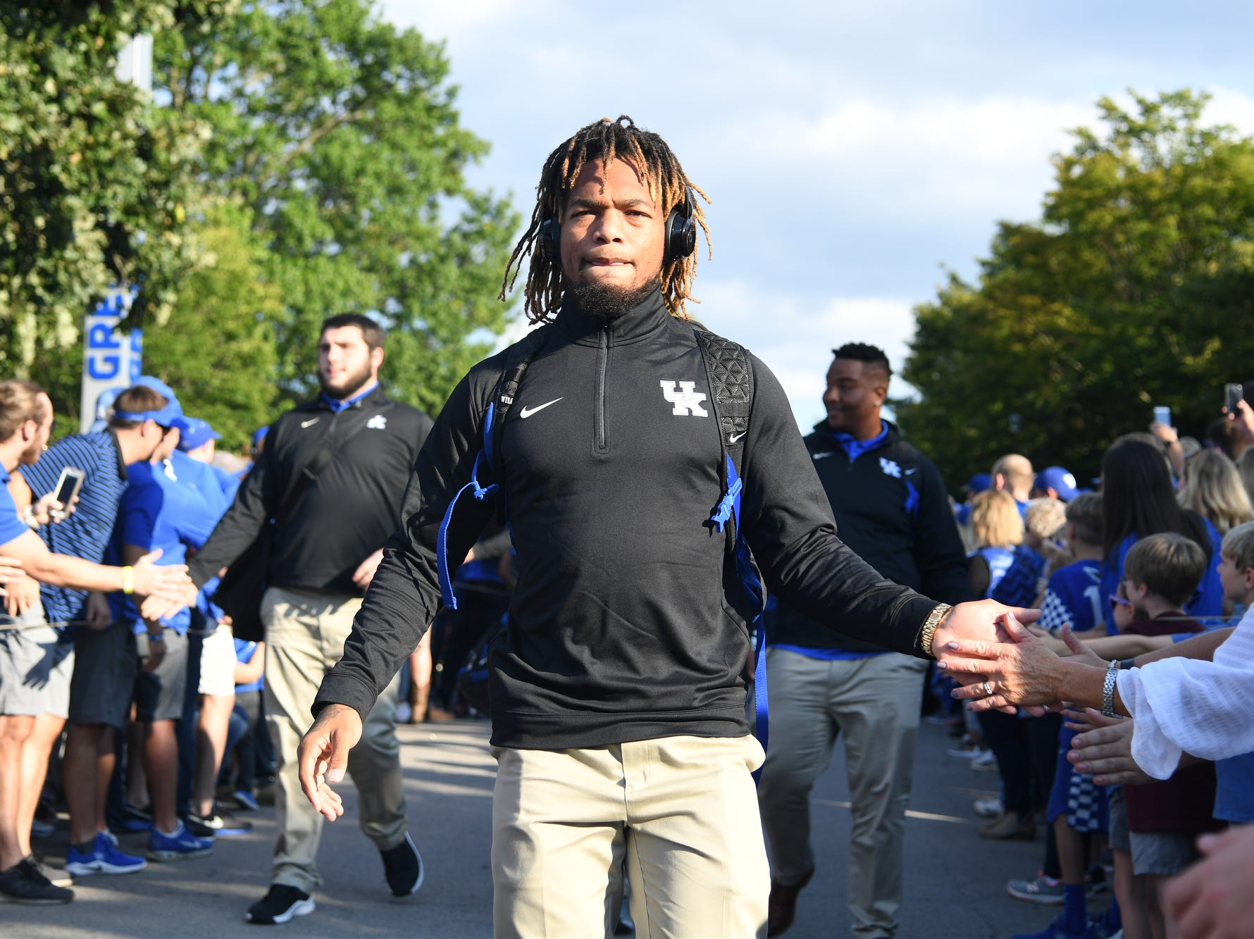 UK WR Lynn Bowden Jr. during the Cat Walk before the University of Kentucky football game against South Carolina at Kroger Field in Lexington, Kentucky on Saturday, September 29, 2018.