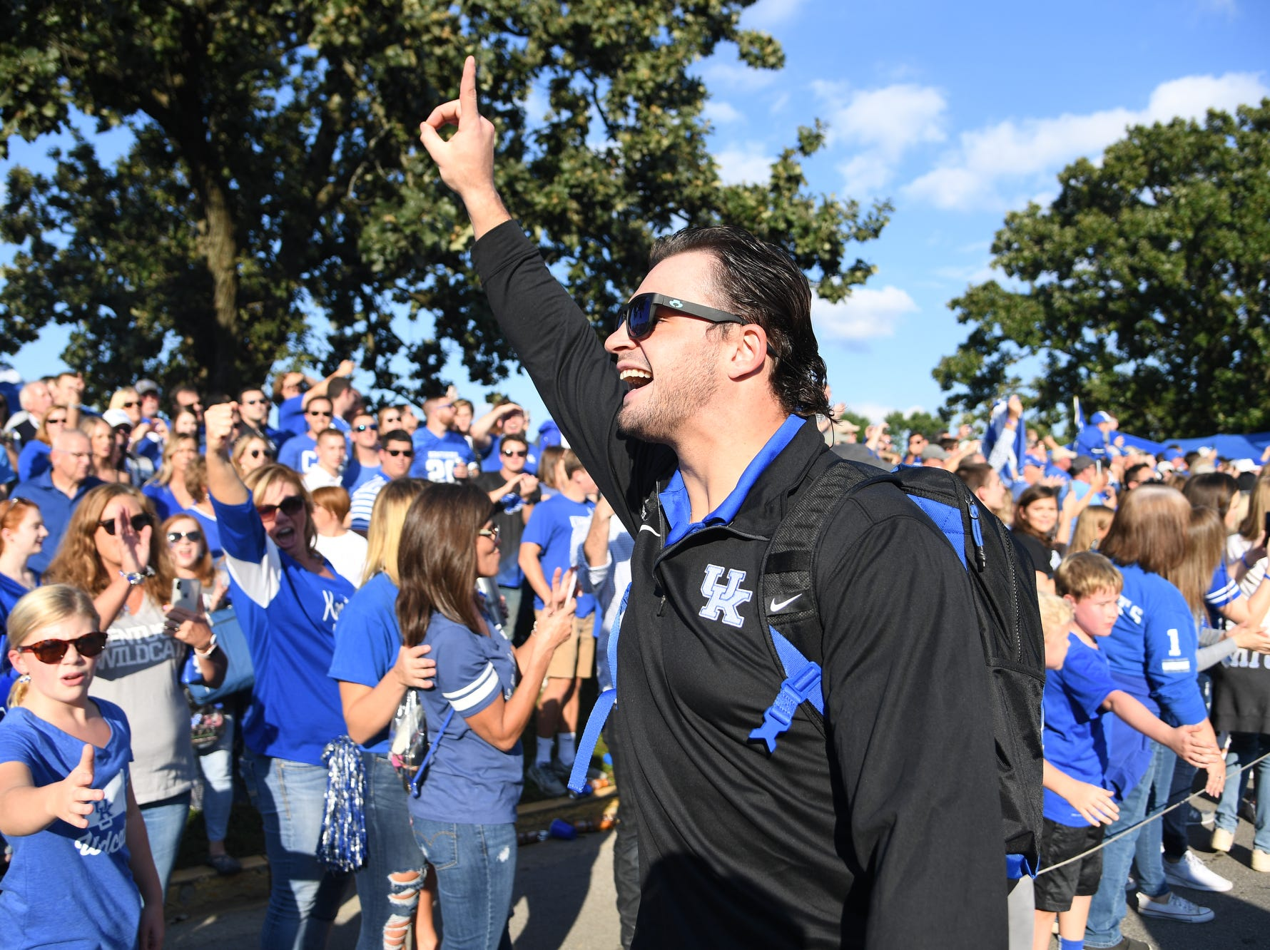 UK MLB Kash Daniel pumps up the crowd during the Cat Walk before the University of Kentucky football game against South Carolina at Kroger Field in Lexington, Kentucky on Saturday, September 29, 2018.