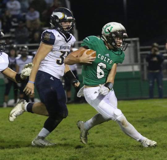 Clear Fork's Jared Schaefer runs down the field while playing against River Valley at home on Friday night.