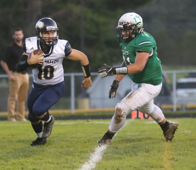 Clear Fork's Michael Chillemi plays defense while playing against River Valley at home earlier this season.