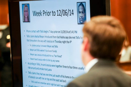 September 29 2018 - Information on the week prior to the day Jessica Chambers was killed is seen during the fifth day of the retrial of Quinton Tellis on Saturday. Tellis is charged with burning 19-year-old Jessica Chambers to death on Dec. 6, 2014. Tellis has pleaded not guilty to the murder.