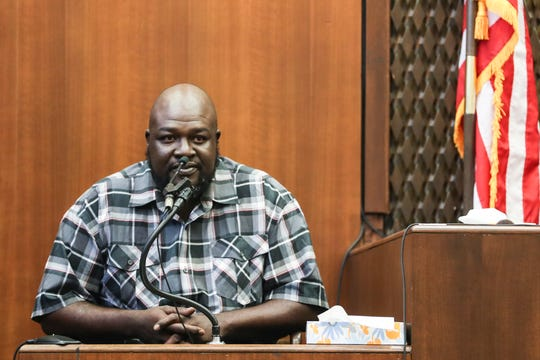 September 29 2018 - Michael ÒBig MikeÓ Sanford testifies during the fifth day of the retrial of Quinton Tellis on Saturday. Tellis is charged with burning 19-year-old Jessica Chambers to death on Dec. 6, 2014. Tellis has pleaded not guilty to the murder.