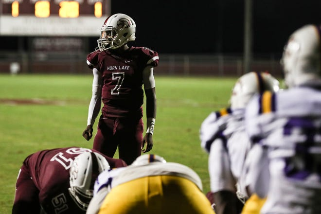 September 28 2018 - Horn Lake's quarterback Raydarious Jones looks to the sidelines before a play during Friday night's game versus DeSoto Central at Horn Lake High School.