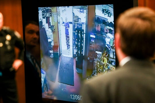 September 29 2018 - Jessica Chambers is seen from a. security camera at the M&M convenience store on the day she died during testimony on the fifth day of the retrial of Quinton Tellis on Saturday. Tellis is charged with burning 19-year-old Jessica Chambers to death on Dec. 6, 2014. Tellis has pleaded not guilty to the murder.