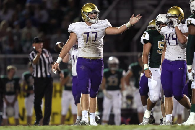 Christian Brothers' Bill Norton signals over to his teammates during their game against Briarcrest on Friday, Sept. 28, 2018.