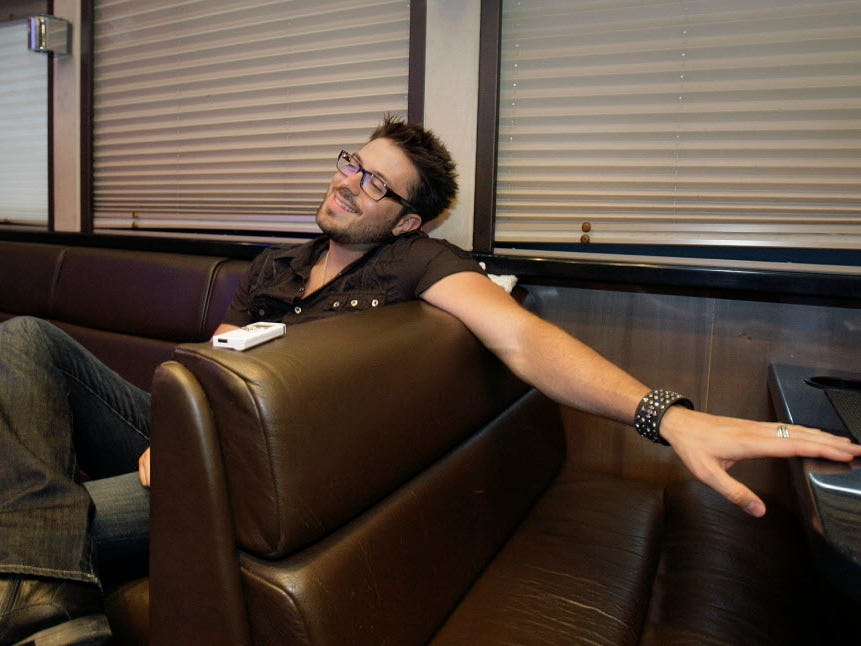 Danny Gokey's  relaxes in his tour bus  after an overnight trip from South Dakota to Milwaukee in time for Summerfest, Sunday, July 4, 2010.