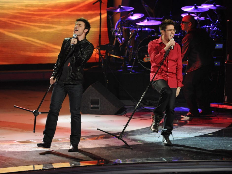 "Kris Allen (L) and Danny Gokey (R) perform together during the eighth season of ""American Idol"" in 2009."