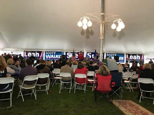 Gov. Scott Walker speaks Saturday at Fall Fest, a gathering of GOP candidates in Burlington.
