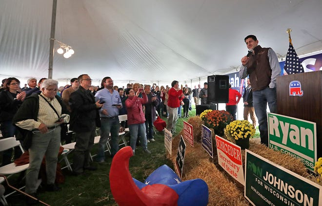 """Wisconsin First Congressional District congressman and House Speaker Paul Ryan tells supporters they need to make calls and talk to their friends and neighbors in order to win the midterm elections. He thanked supporters during  """"Fall Fest,"""" the First Congressional District Republican Party on Saturday at Brightwoods Orchard in Burlington."""