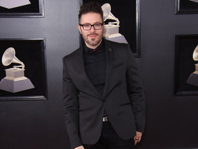 Danny Gokey arrives at the 60th Annual Grammy Awards at Madison Square Garden.