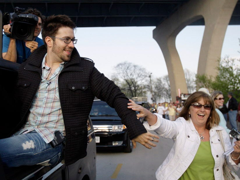 "Following a Milwaukee concert filmed for ""American Idol,"" Danny Gokey greets well-wishers while leaving the Summerfest grounds."