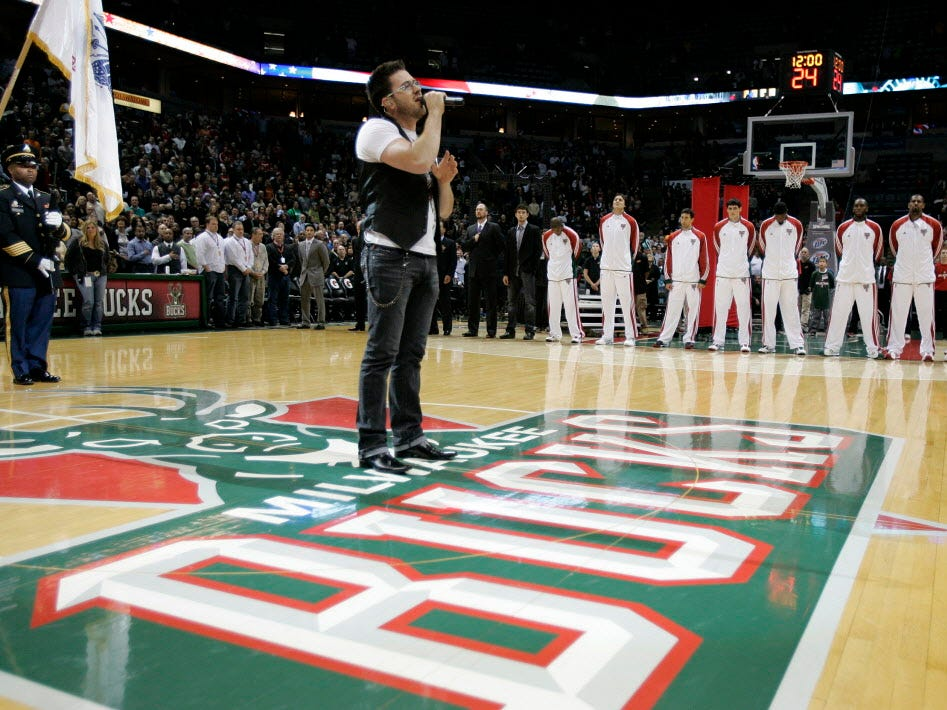 American Idol finalist Danny Gokey performs the National Anthem before the Milwaukee Bucks game against the Detroit Pistons at  the Bradley Center, Saturday, October 31,  2009.