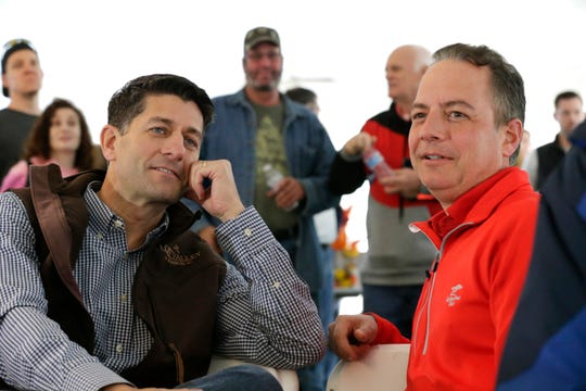 """Wisconsin First Congressional District Congressman and House Speaker Paul Ryan chats with former Republican National Committee Chairman and former White House Chief of Staff  Reince Priebus during  """"Fall Fest,"""" the First Congressional District Republican Party on Saturday in Burlington."""