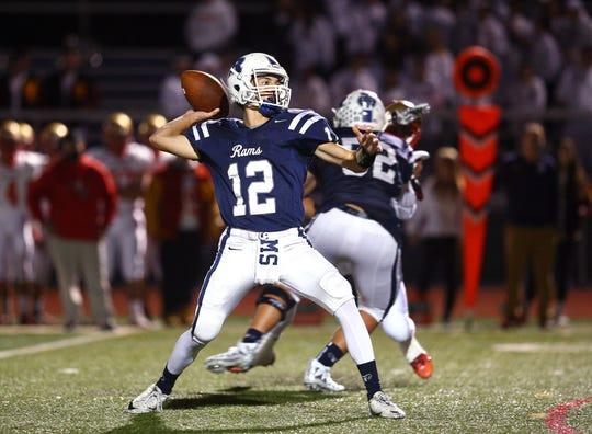 Randolph quarterback Anthony Sofia throws long vs. Mount Olive during their SFC Freedom Blue Friday night football game. September 28, 2018, Randolph, NJ
