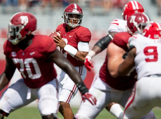 Alabama quarterback Jalen Hurts (2) looks to pass against Louisiana  at Bryant-Denny Stadium in Tuscaloosa, Ala., on Saturday September 29, 2018.