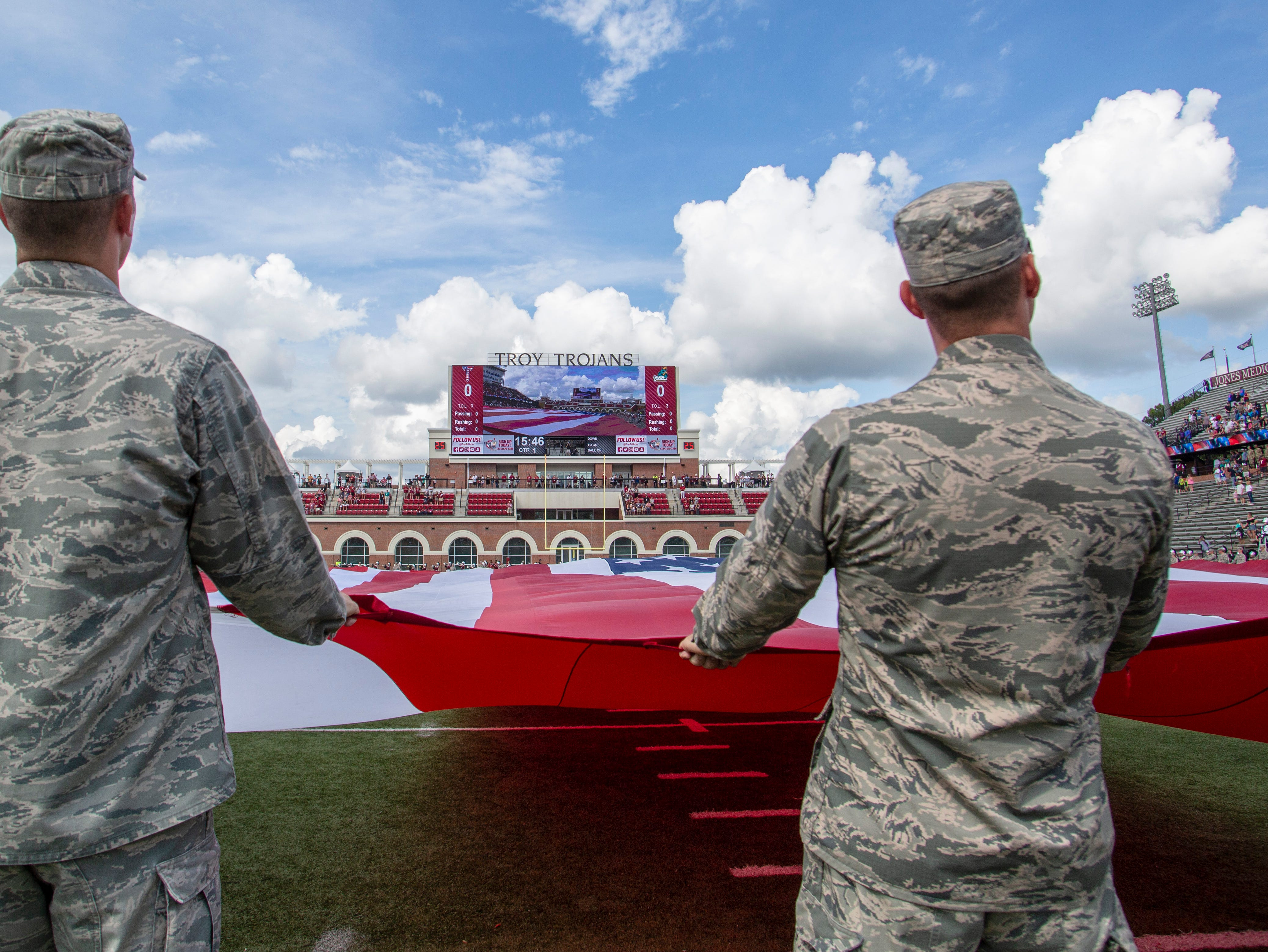 Troy celebrated military appreciation night in their game against Coastal Carolina.