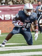 B.J. Smith ran for a career-high 170 yards and a touchdown in Troy's win at South Alabama on Tuesday.