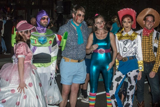The cast of Zombie Toy Story won for best group. There were many kinds of dead walking in downtown Montgomery on Friday, Sept. 28, 2018, for  Montgomery Zombie Walk and Prom, which collected food and money donations for the Montgomery Area Food Bank.