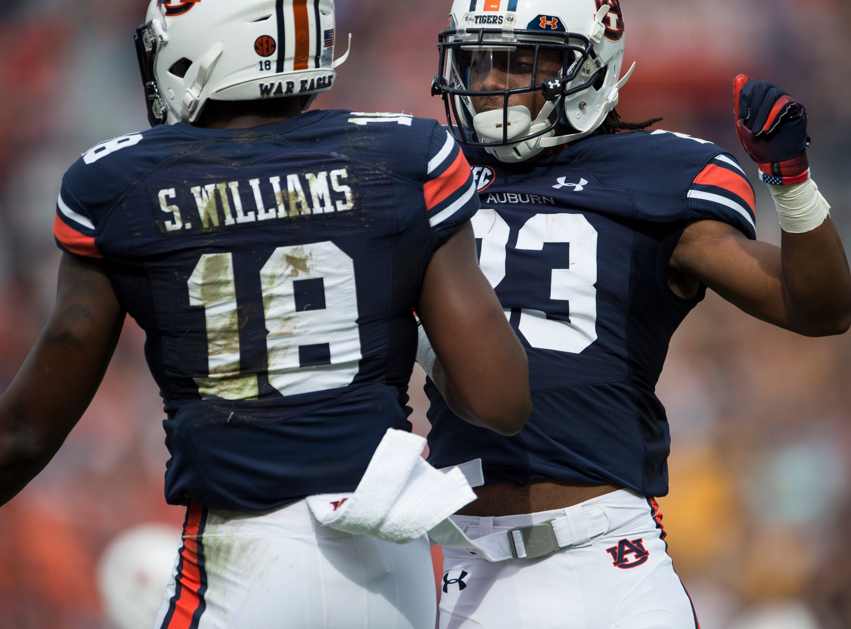 Auburn's Seth Williams (18) and Auburn's Ryan Davis (23) celebrates Williams touchdown catch at Jordan-Hare Stadium in Auburn, Ala., on Saturday, Sept. 29, 2018. Auburn leads Southern Miss 14-3, the game went into a weather delay with 4:27 left in the second quarter.