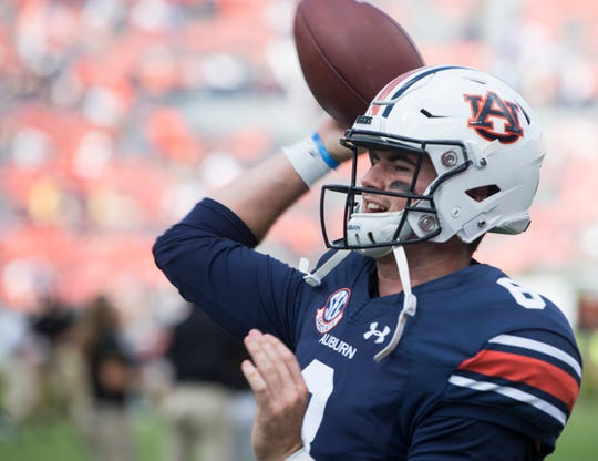 Auburn's Jarrett Stidham (8) warms up before taking on Southern Miss at Jordan-Hare Stadium in Auburn, Ala., on Saturday, Sept. 29, 2018.