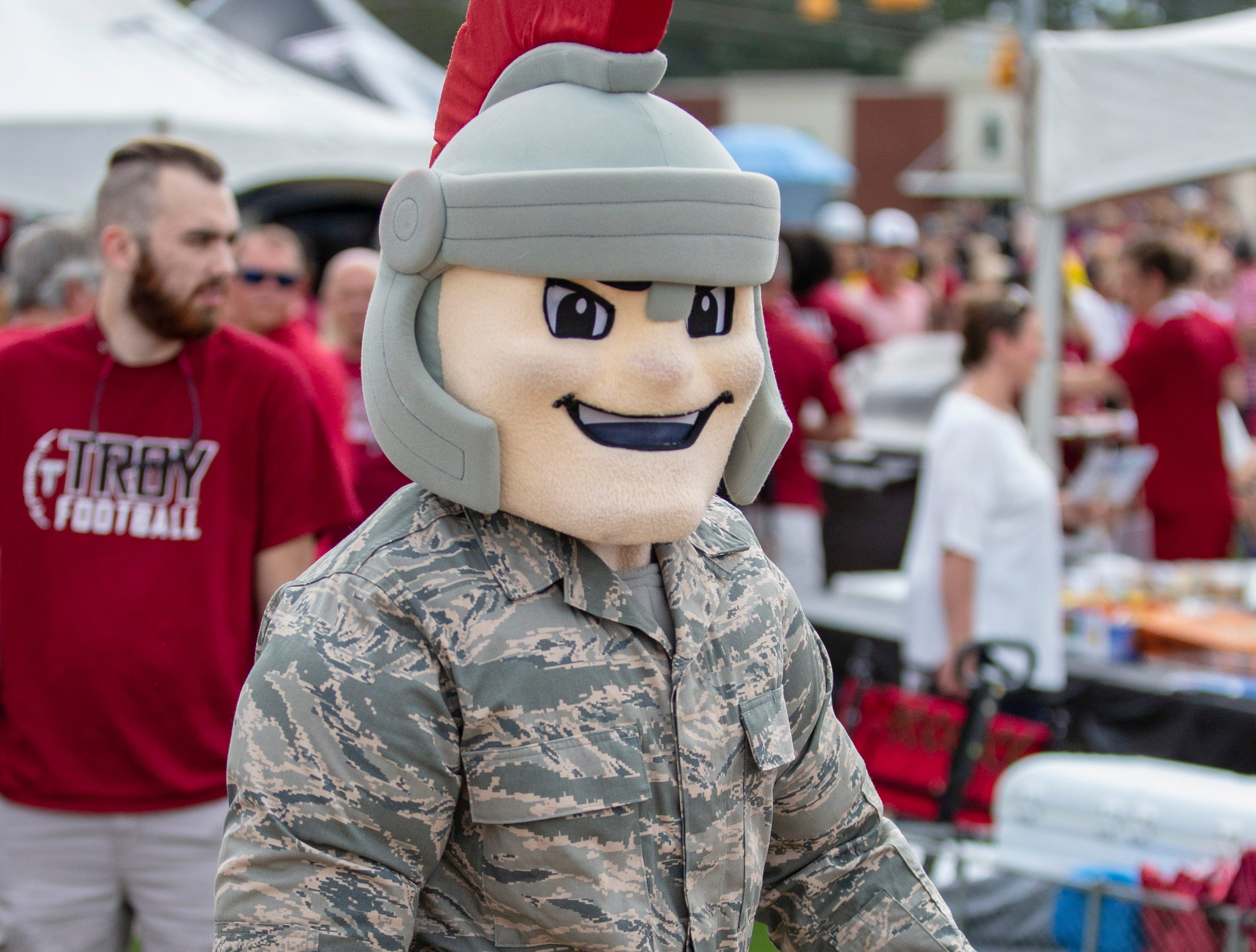 The Troy mascot pays homage to the armed forces.