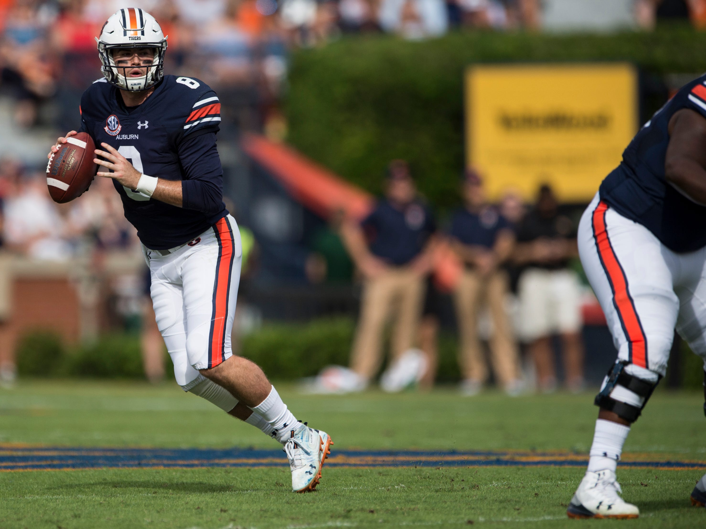 Auburn's Jarrett Stidham (8) looks to throw down field against Southern Miss at Jordan-Hare Stadium in Auburn, Ala., on Saturday, Sept. 29, 2018. Auburn leads Southern Miss 14-3, the game went into a weather delay with 4:27 left in the second quarter.
