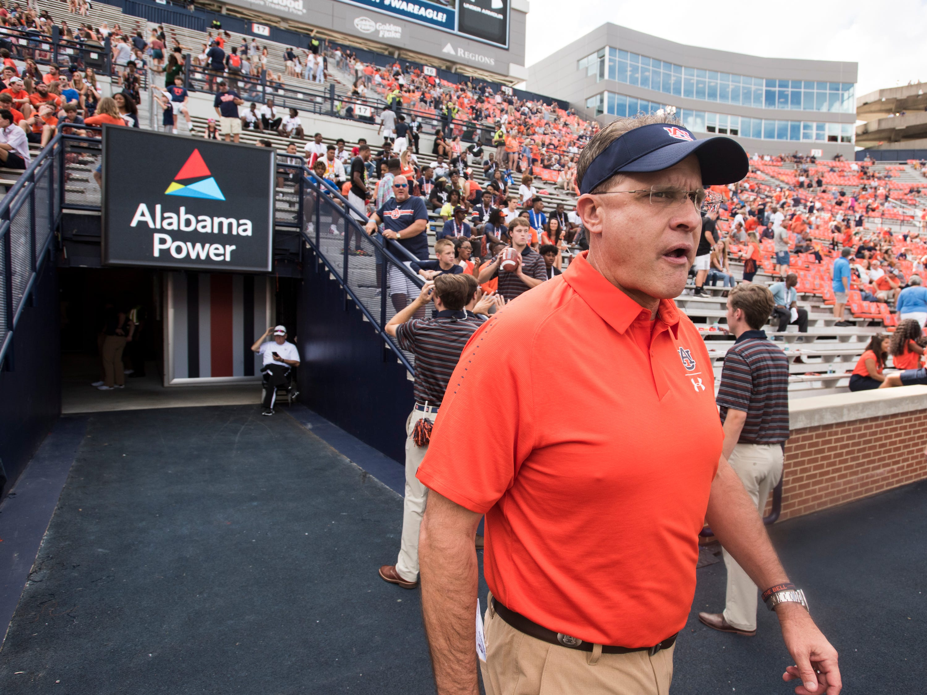 Auburn head coach Gus Malzahn walks on to the field for warm ups before taking on Southern Miss at Jordan-Hare Stadium in Auburn, Ala., on Saturday, Sept. 29, 2018.