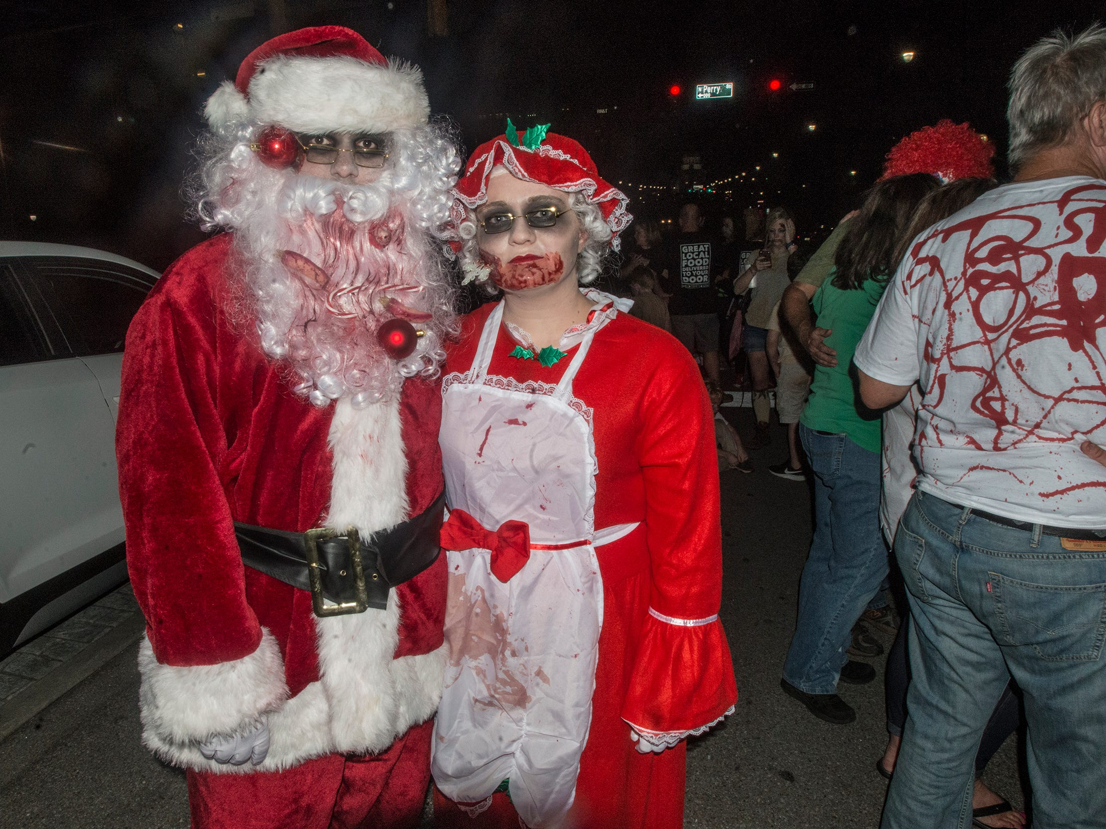 Zombie Santa and Mrs. Claus won king and queen. There were many kinds of dead walking in downtown Montgomery on Friday, Sept. 28, 2018, for  Montgomery Zombie Walk and Prom, which collected food and money donations for the Montgomery Area Food Bank.