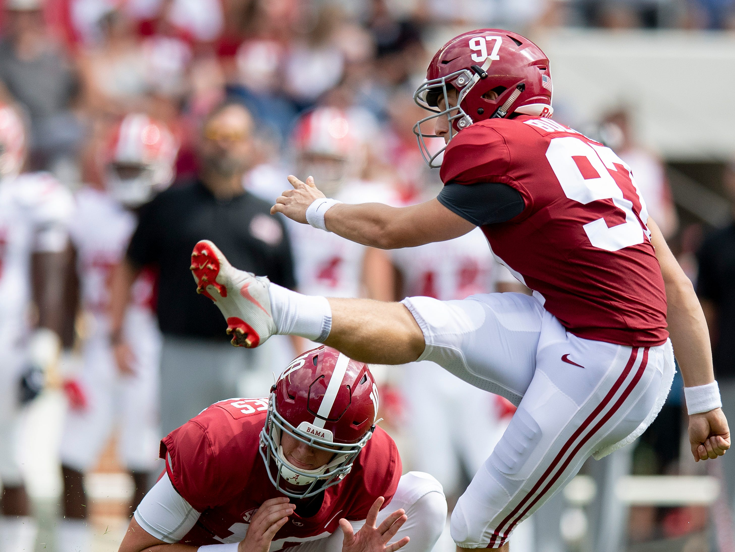 Alabama kicker Joseph Bulovas (97) misses his second field goal of the game against Louisiana  at Bryant-Denny Stadium in Tuscaloosa, Ala., on Saturday September 29, 2018.