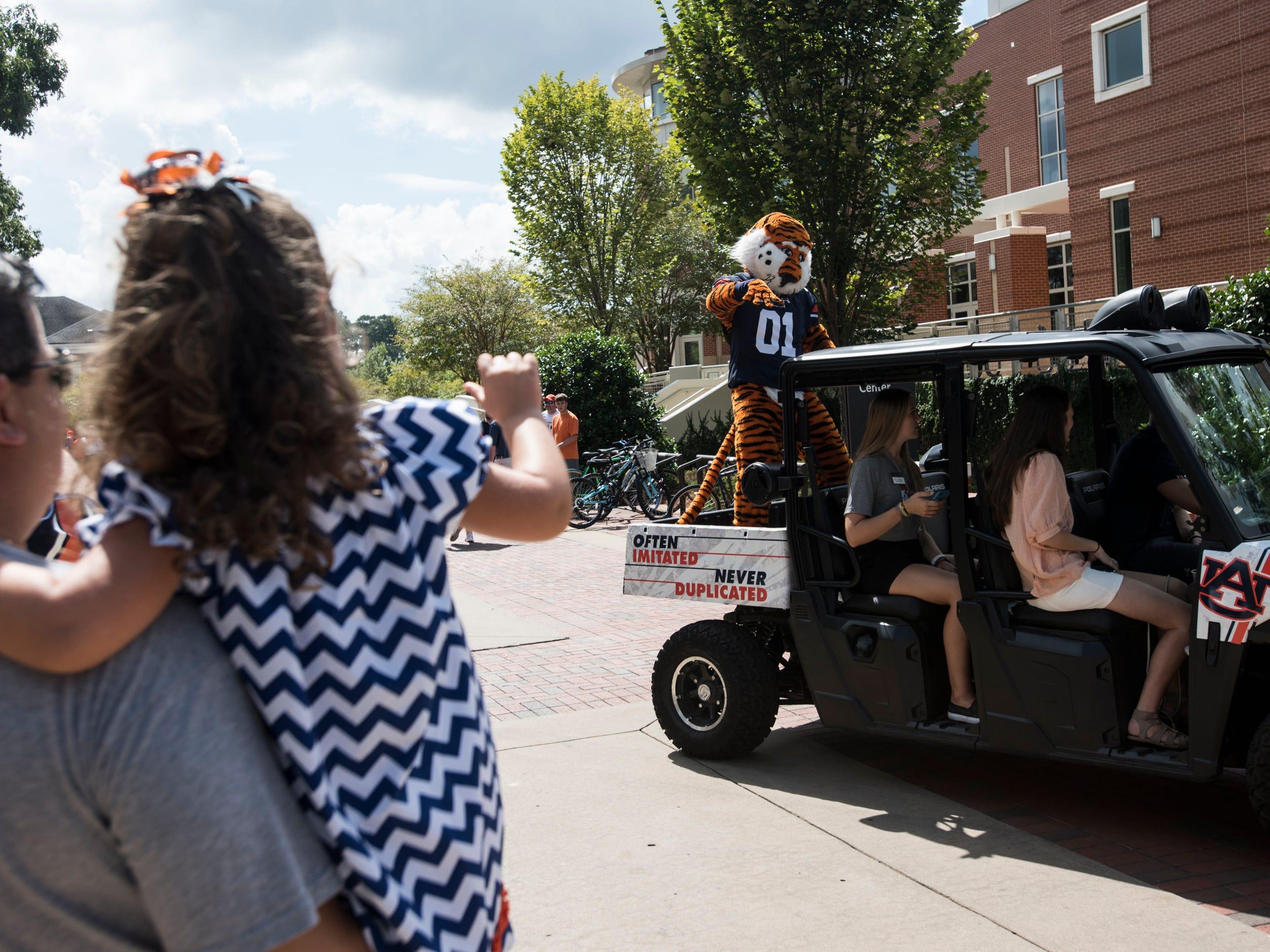 Fans wave at Auburn mascot, Aubie, as he drives around campus outside Jordan-Hare Stadium in Auburn, Ala., on Saturday, Sept. 29, 2018.
