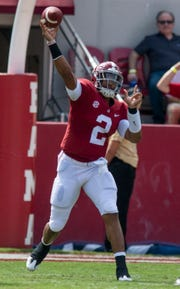Alabama quarterback Jalen Hurts (2) throws against Louisiana in first half action at Bryant-Denny Stadium in Tuscaloosa, Ala., on Saturday September 29, 2018.