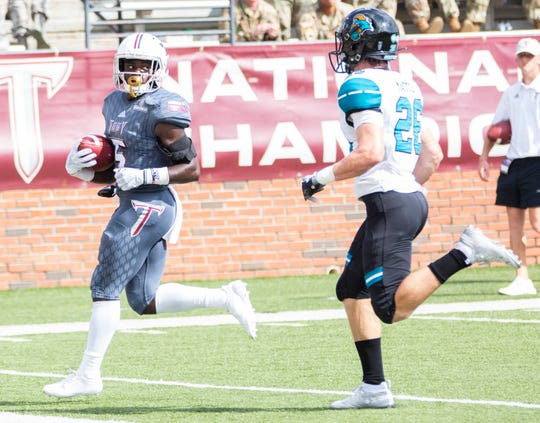 Jabir Daughtry-Frye coasts into the end zone after catching Luke Whittemore's pass for Troy's second touchdown against Coastal Carolina.