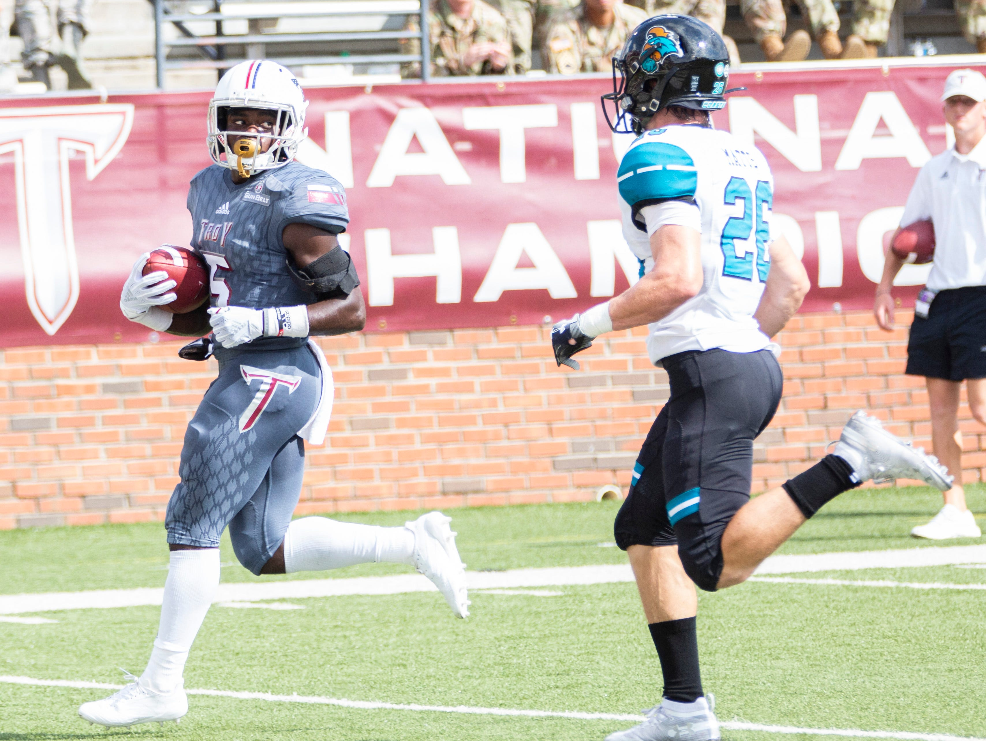 Troy's Sidney Davis coasts into the end zone for the Trojan's second touchdown of the game.
