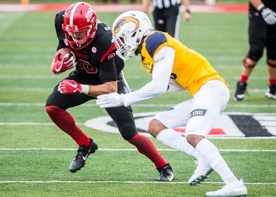 Ball State's Riley Miller makes a catch against Kent State at Scheumann Stadium Saturday, Sept. 29, 2018.
