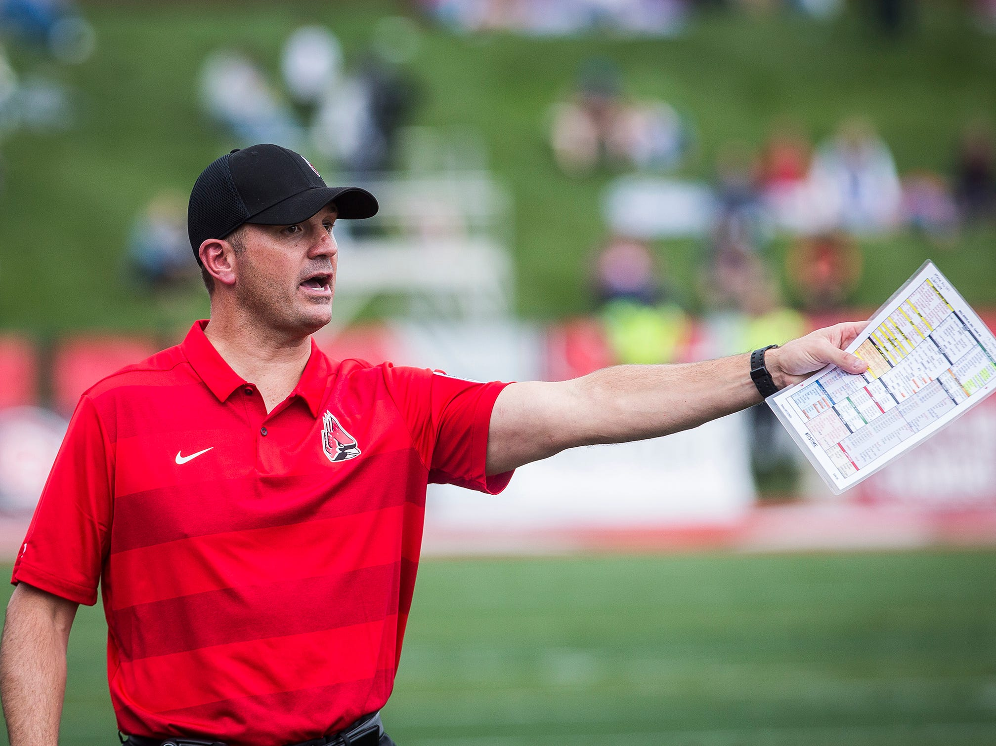 Ball State head coach Mike Neu shouts instructions during the game against Kent State at Scheumann Stadium Saturday, Sept. 29, 2018.