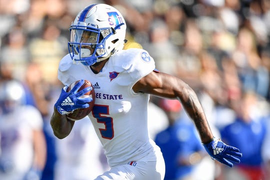 TSU wide receiver Treon Harris (5) runs in a touchdown against Vanderbilt on Sept. 29, 2018.