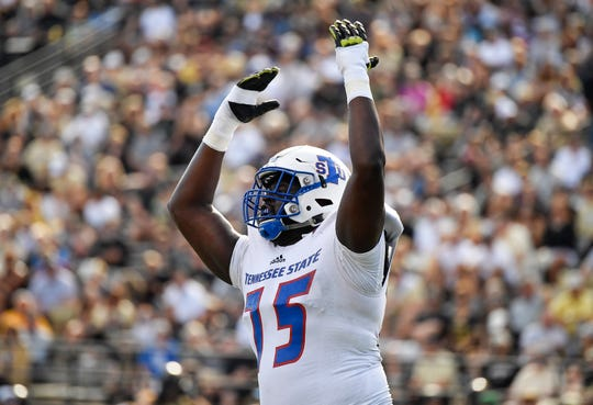 TSU offensive lineman Chidi Okeke (75) celebrates their touchdown during the second quarter against Vanderbilt at Vanderbilt Stadium Saturday, Sept. 29, 2018, in Nashville, Tenn.