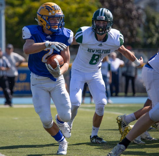 Lyndhurst's Piotr Partyla (2) gets some traction and moves the ball during the second quarter of the game against New Milford at Lyndhurst on Saturday, Sept. 29, 2018.