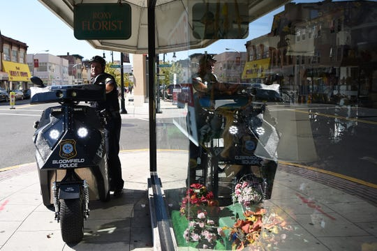 Patrolman Nicholas Laratta in downtown Bloomfield, NJ on Saturday September 29, 2018. The Bloomfield Police Department recently began a new patrol initiative in the downtown center area to keep residents safe and merchants comfortable.