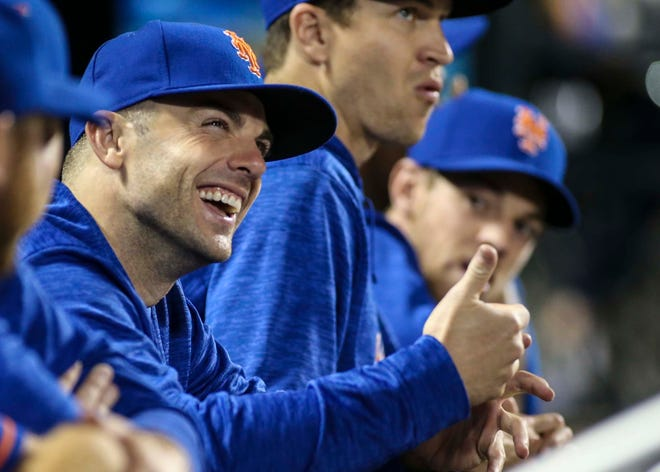 Sep 28, 2018; New York City, NY, USA; New York Mets third baseman David Wright (5) in the dugout in the ninth inning against the Miami Marlins at Citi Field.