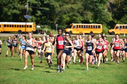 Girls Varsity B start at Garret Invitational race in Woodland Park, on Saturday, September 29.