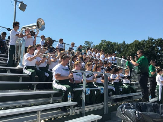The Midland Park band plays the national anthem prior to the Waldwick/Midland Park football game vs. Rutherford on Saturday, Sept. 29, 2018. The game was held at Midland Park's Santorine Field for the second straight year.