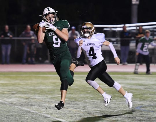 River Dell at Ramapo on Friday, September 28, 2018. R #9 Isaiah Savitt makes a catch for a touchdown in OT.