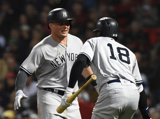 Sep 28, 2018; Boston, MA, USA; New York Yankees first baseman Luke Voit (45) reacts with shortstop Didi Gregorius (18) after hitting a home run during the seventh inning against the Boston Red Sox at Fenway Park.