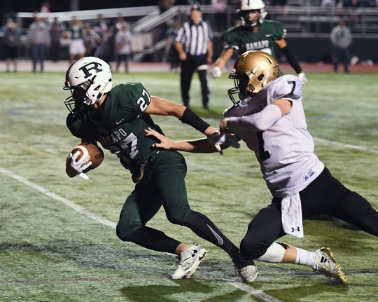 River Dell at Ramapo on Friday, September 28, 2018. R #27 Max Baker scores a touchdown in the fourth quarter.