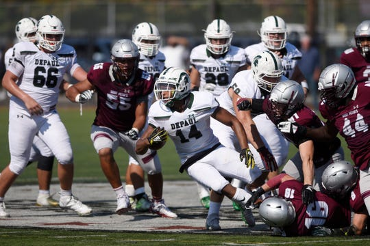 DePaul at St. Peter's Prep on Saturday, September 29, 2018. DP #14 Ronnie Hickman in the fourth quarter.