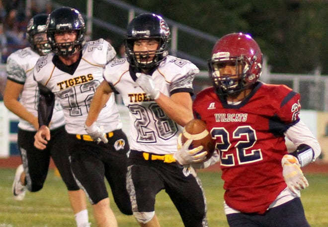 Senior Wildcat running back Ceazer Chavez (22) hopes to keep defenders in his rear-view mirror when the 2019 Deming High football unfolds. The 'Cats are planning a practice at 12:01 a.m. on Monday, Aug. 5 to officially open the season at DHS Memorial Stadium.