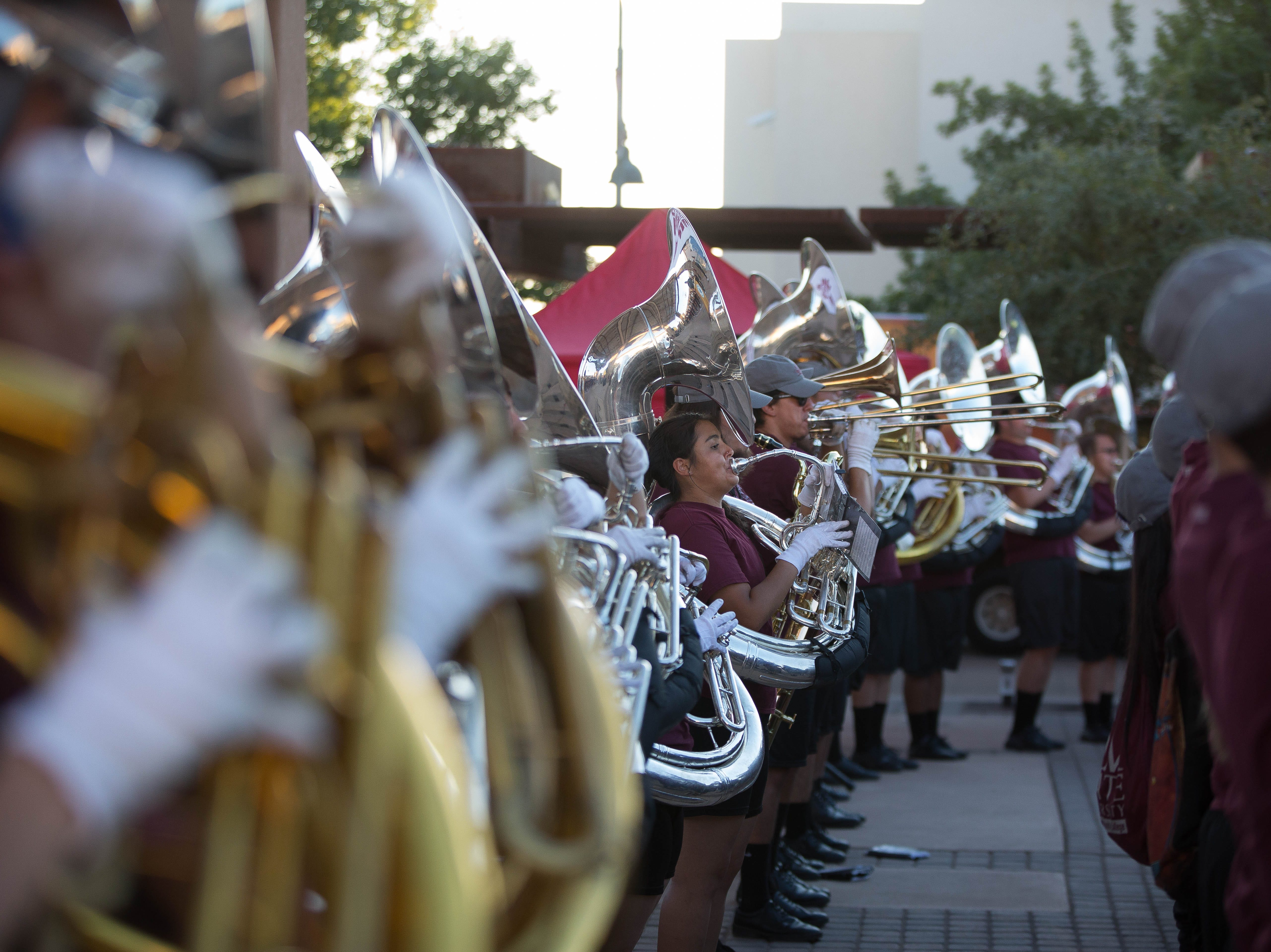The Pride Band performed at the Downtown Aggie Rally, Friday September 28, 2018, for the fans and Aggie Athletes that gathered at the Plaza de Las Cruces.