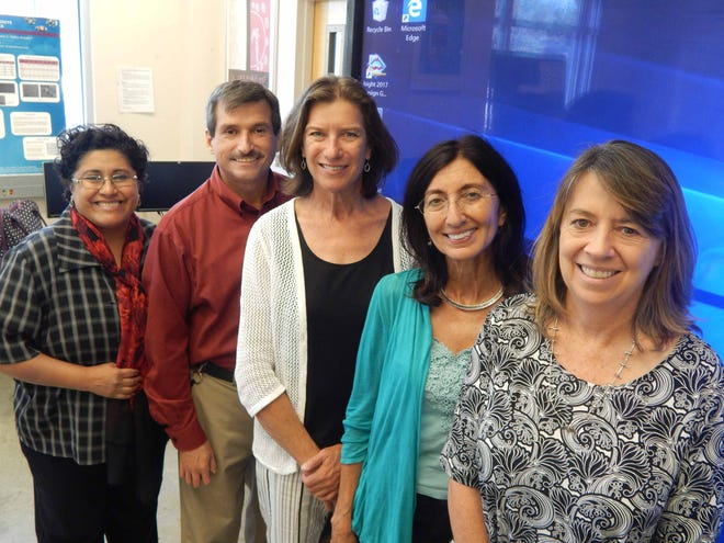From left: The HSI Resource Hub includes: Delia Valles-Rosales, NMSU associate professor in the College of Engineering; Jon Juarez, DACC regents professor and head of computer technology; Sonya Cooper, NMSU regents professor and College of Engineering associate dean; Elba Serrano, NMSU regents professor in the College of Arts and Sciences; and Martha Desmond, NMSU regents professor in Wildlife and Fisheries Department in the College of Agricultural, Consumer and Environmental Sciences.