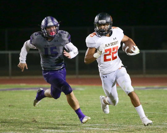 Jordan Garcia finds an opening on the left side of the field. The Shadow Hills varsity football team lost Friday's home conference game against Palm Desert (CA) by a score of 26-14.